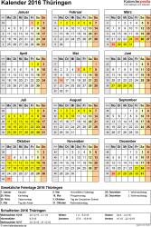 Vorlage 4: Kalender Thüringen 2016 als Excel-Vorlage (Hochformat)