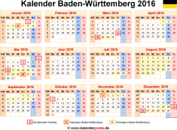 kalender 2016 baden w rttemberg ferien feiertage excel vorlagen. Black Bedroom Furniture Sets. Home Design Ideas