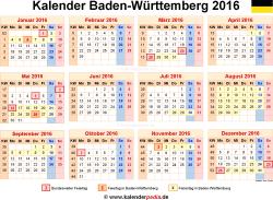 Kalender 2016 Baden-Württemberg