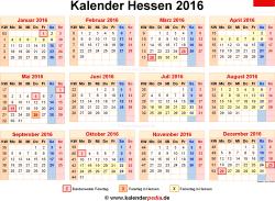 Kalender 2016 Hessen