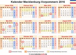 Kalender 2016 Mecklenburg-Vorpommern