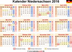 Kalender 2016 Niedersachsen
