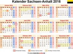 Kalender 2016 Sachsen-Anhalt