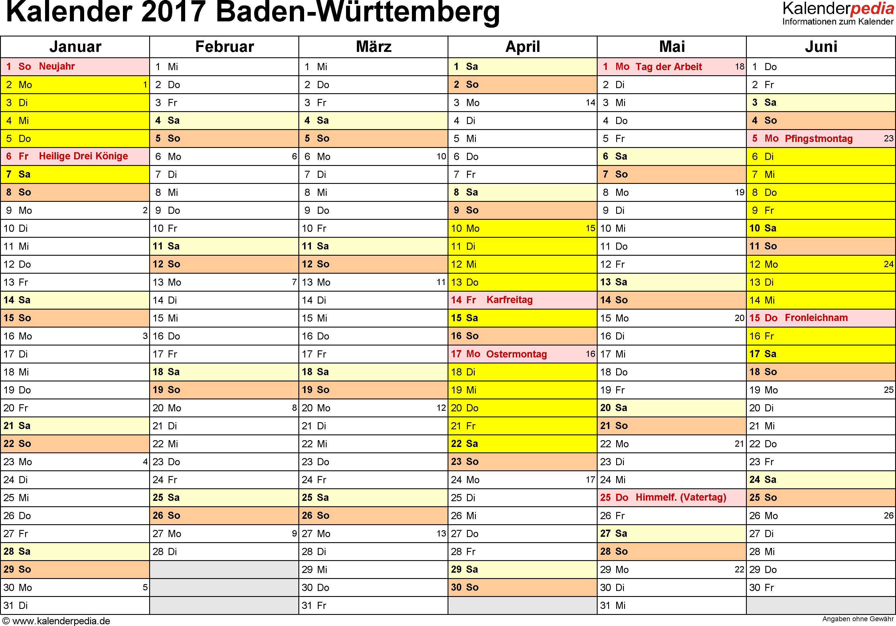 Vorlage 2: Kalender 2017 für Baden-Württemberg als Word-Vorlage (Querformat, 2 Seiten)