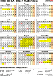 Vorlage 4: Kalender Baden-Württemberg 2017 als Excel-Vorlage (Hochformat)