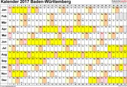 Vorlage 2: Kalender Baden-Württemberg 2017 im Querformat, Tage nebeneinander
