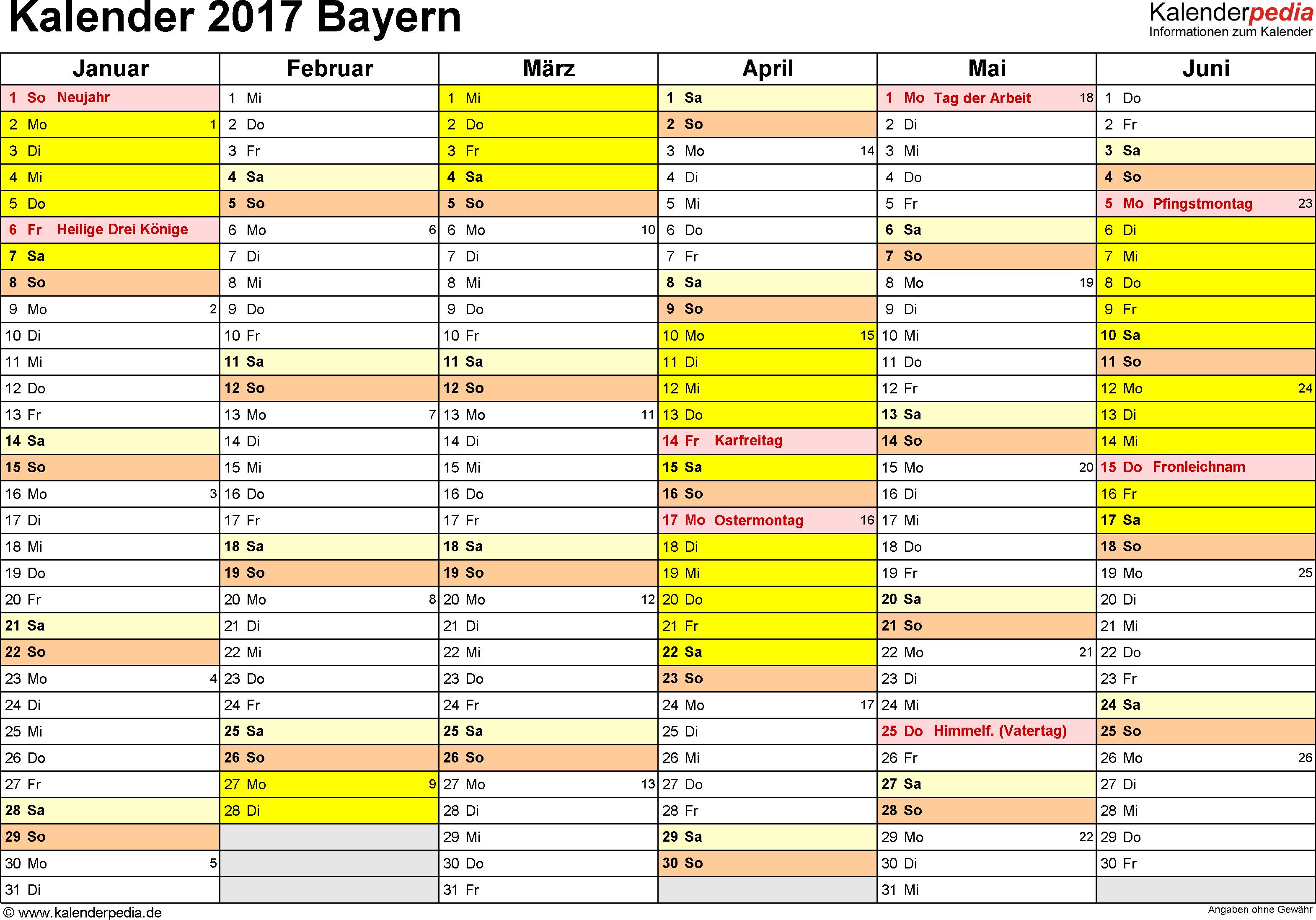 Vorlage 2: Kalender 2017 für Bayern als PDF-Vorlage (Querformat, 2 Seiten)