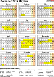 Vorlage 4: Kalender Bayern 2017 als Excel-Vorlage (Hochformat)