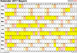 Vorlage 2: Kalender Bayern 2017 im Querformat, Tage nebeneinander