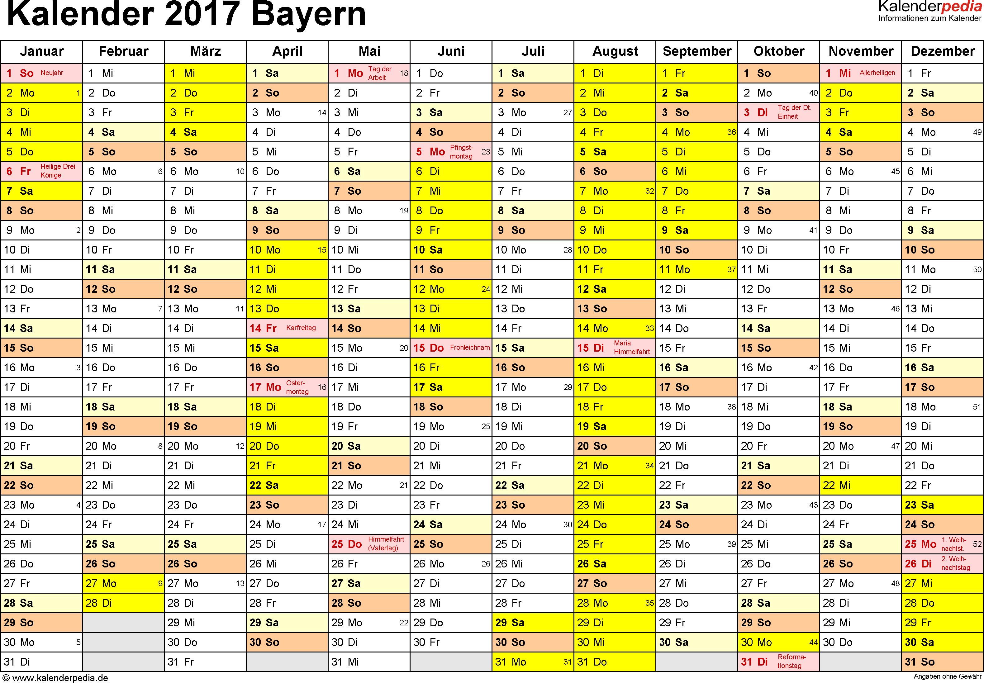Vorlage 1: Kalender 2017 für Bayern als PDF-Vorlage (Querformat, 1 Seite)