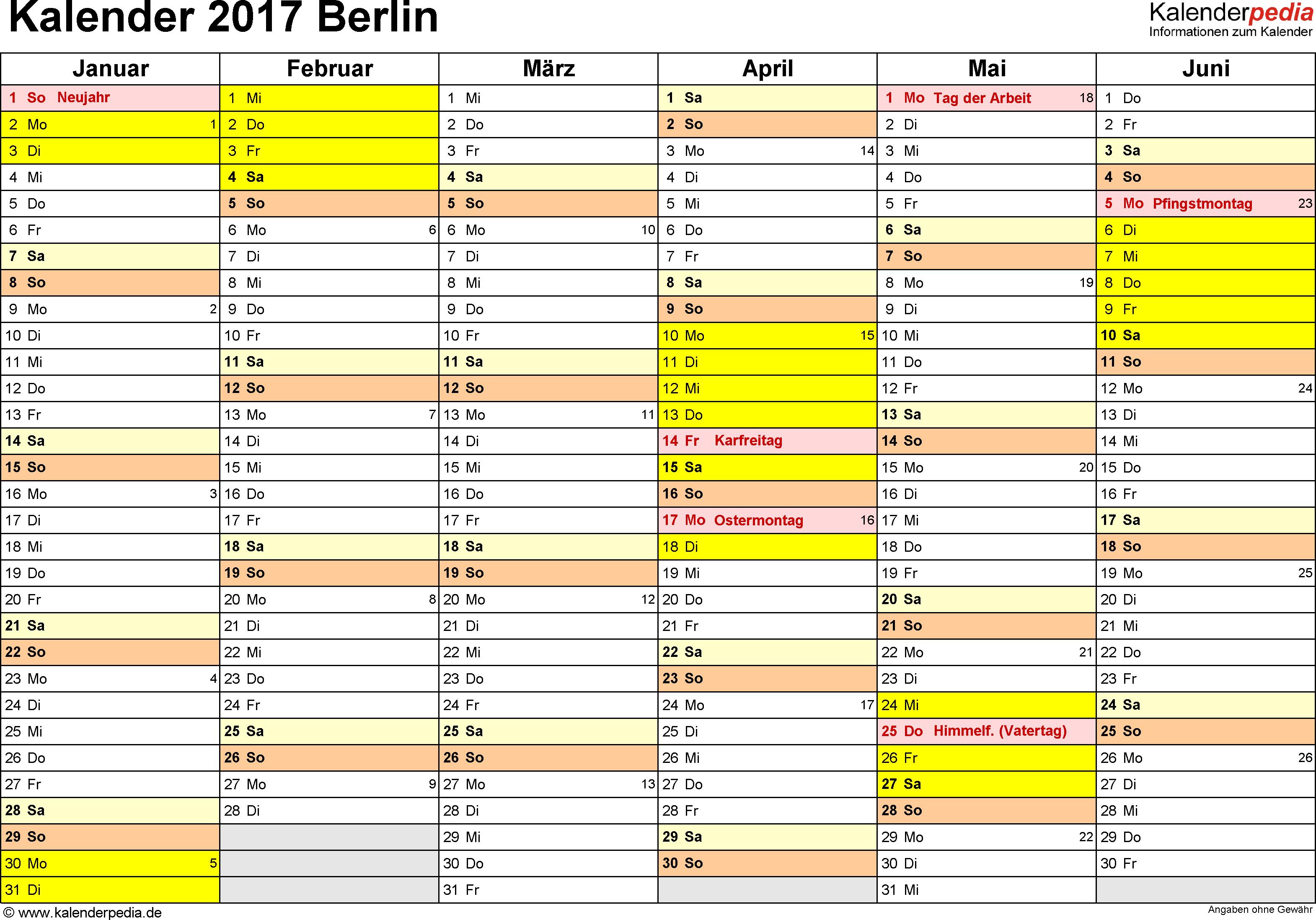 Vorlage 2: Kalender 2017 für Berlin als Word-Vorlage (Querformat, 2 Seiten)