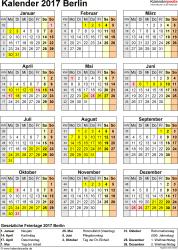Vorlage 4: Kalender Berlin 2017 als Excel-Vorlage (Hochformat)