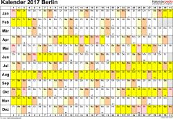 Vorlage 3: Kalender Berlin 2017 im Querformat, Tage nebeneinander