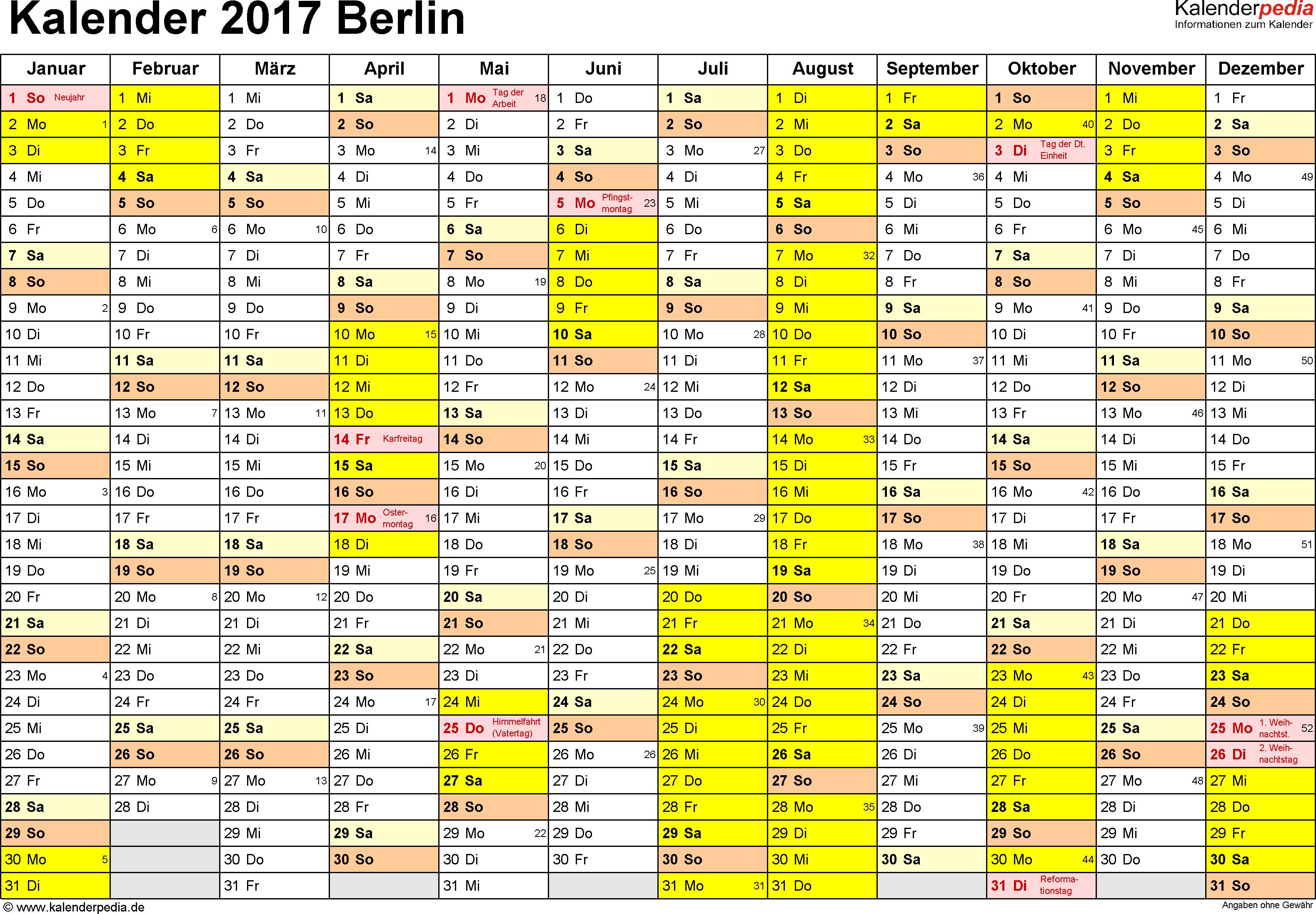 Vorlage 1: Kalender 2017 für Berlin als Word-Vorlage (Querformat, 1 Seite)