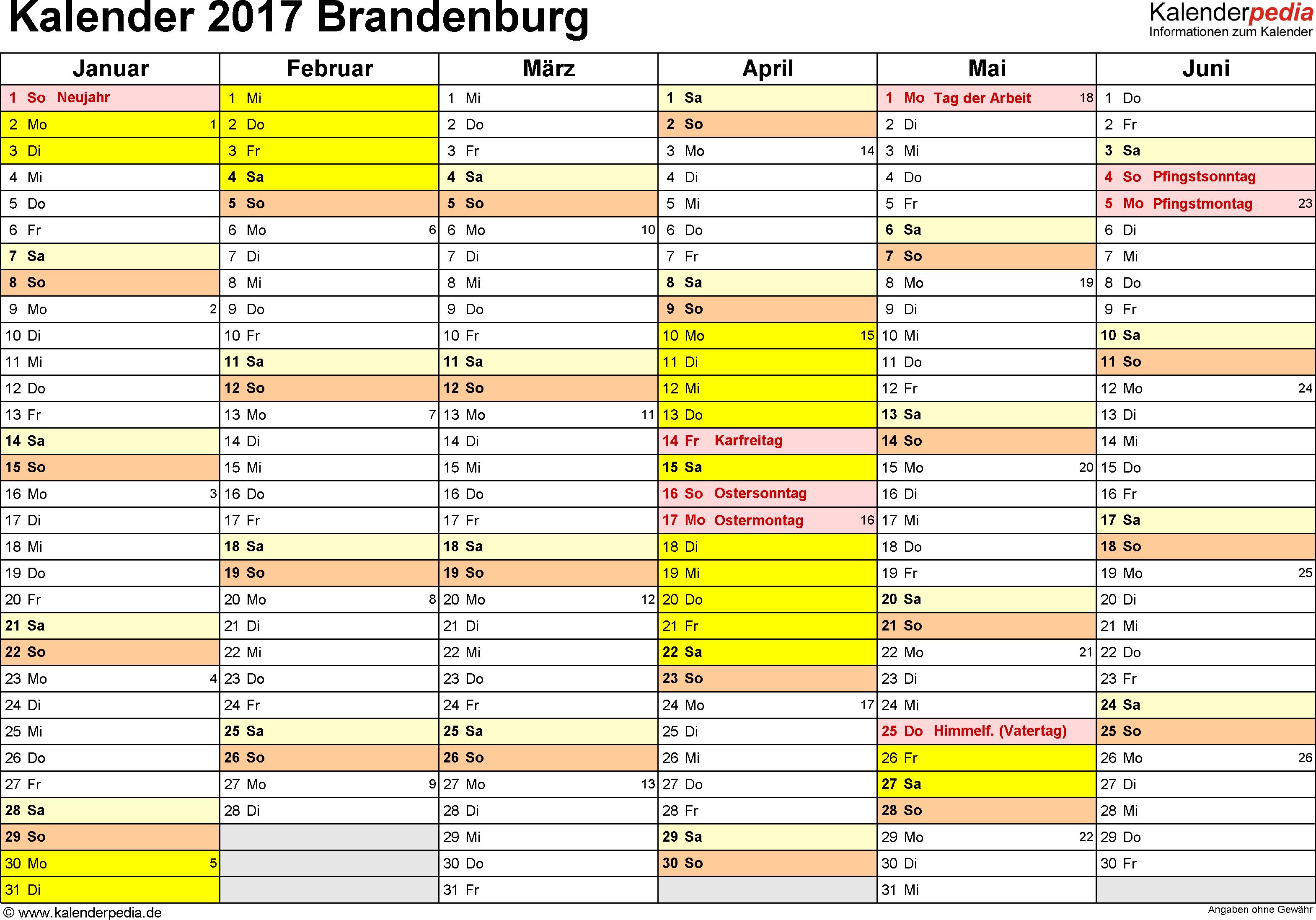 Vorlage 3: Kalender 2017 für Brandenburg als Excel-Vorlagen (Querformat, 2 Seiten)