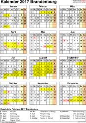 Vorlage 4: Kalender Brandenburg 2017 als Excel-Vorlage (Hochformat)