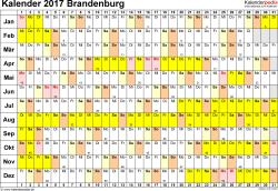 Vorlage 3: Kalender Brandenburg 2017 im Querformat, Tage nebeneinander
