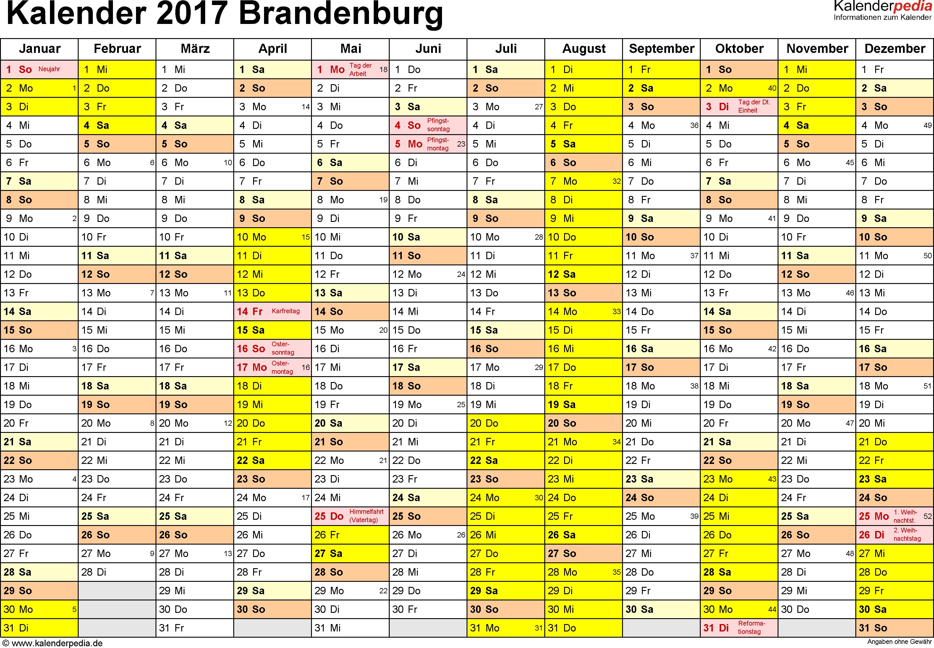 Vorlage 1: Kalender 2017 für Brandenburg als PDF-Vorlage (Querformat, 1 Seite)