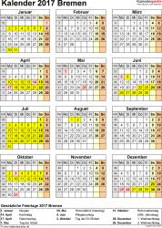 Vorlage 4: Kalender Bremen 2017 als Excel-Vorlage (Hochformat)