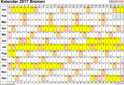 Vorlage 3: Kalender Bremen 2017 im Querformat, Tage nebeneinander
