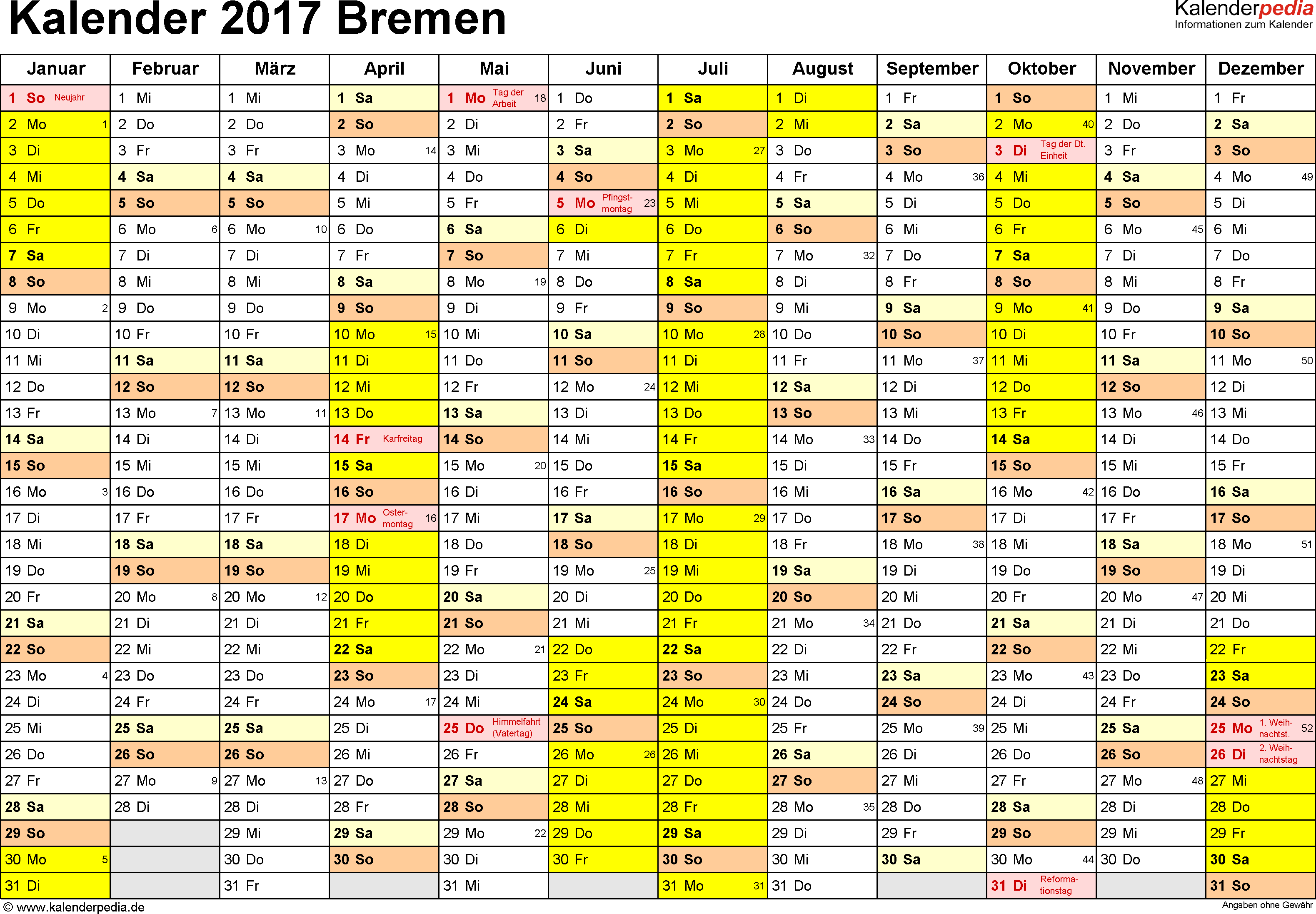 Vorlage 1: Kalender 2017 für Bremen als Excel-Vorlage (Querformat, 1 Seite)