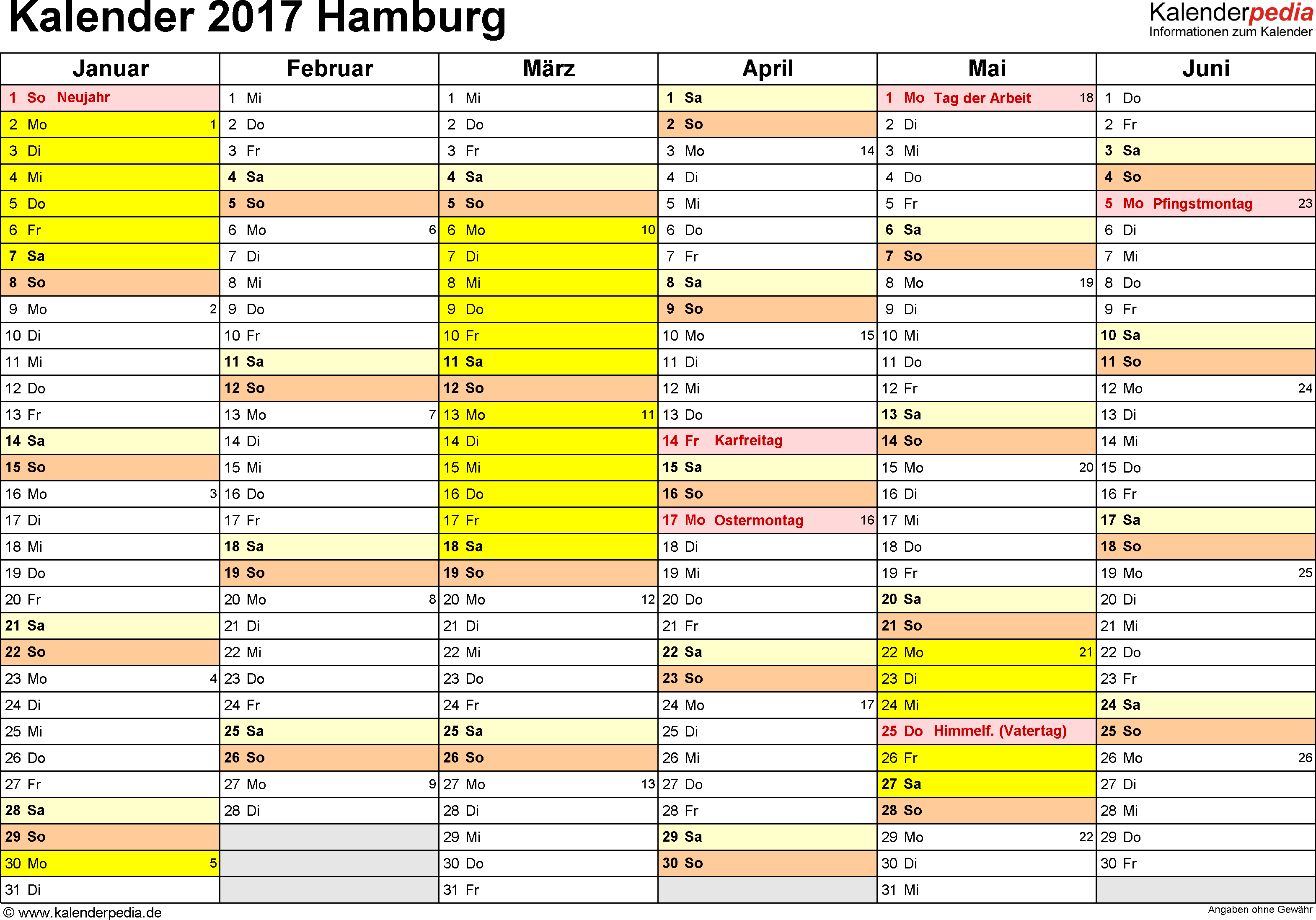 Vorlage 2: Kalender 2017 für Hamburg als PDF-Vorlage (Querformat, 2 Seiten)