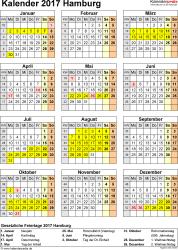 Vorlage 4: Kalender Hamburg 2017 als Word-Vorlage (Hochformat)