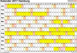 Vorlage 3: Kalender Hamburg 2017 im Querformat, Tage nebeneinander