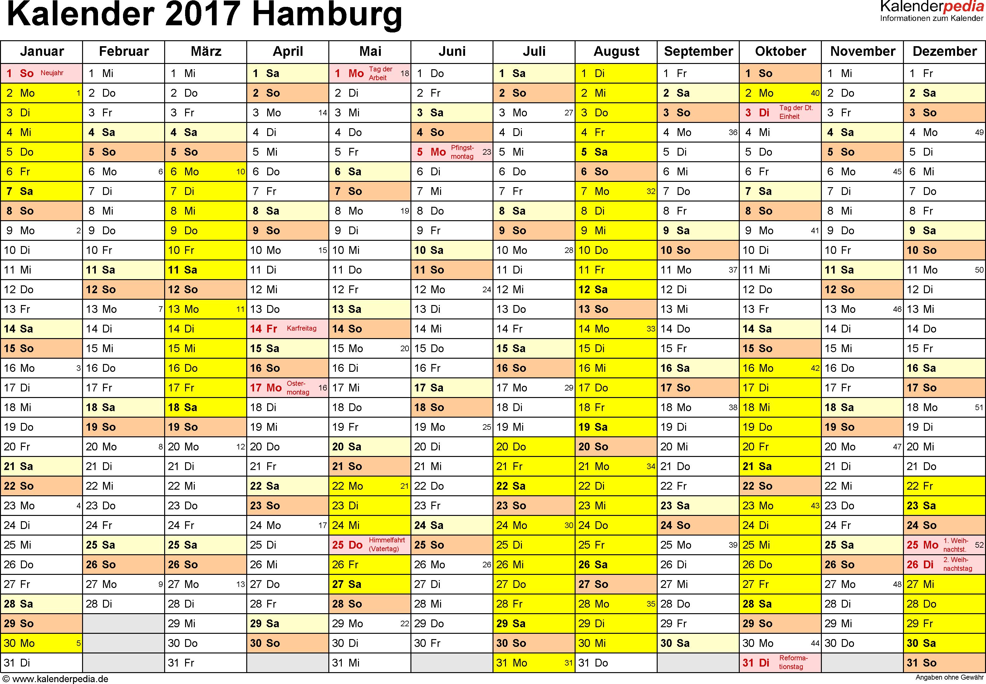 Vorlage 1: Kalender 2017 für Hamburg als PDF-Vorlage (Querformat, 1 Seite)