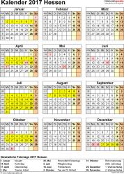 Vorlage 4: Kalender Hessen 2017 als Excel-Vorlage (Hochformat)