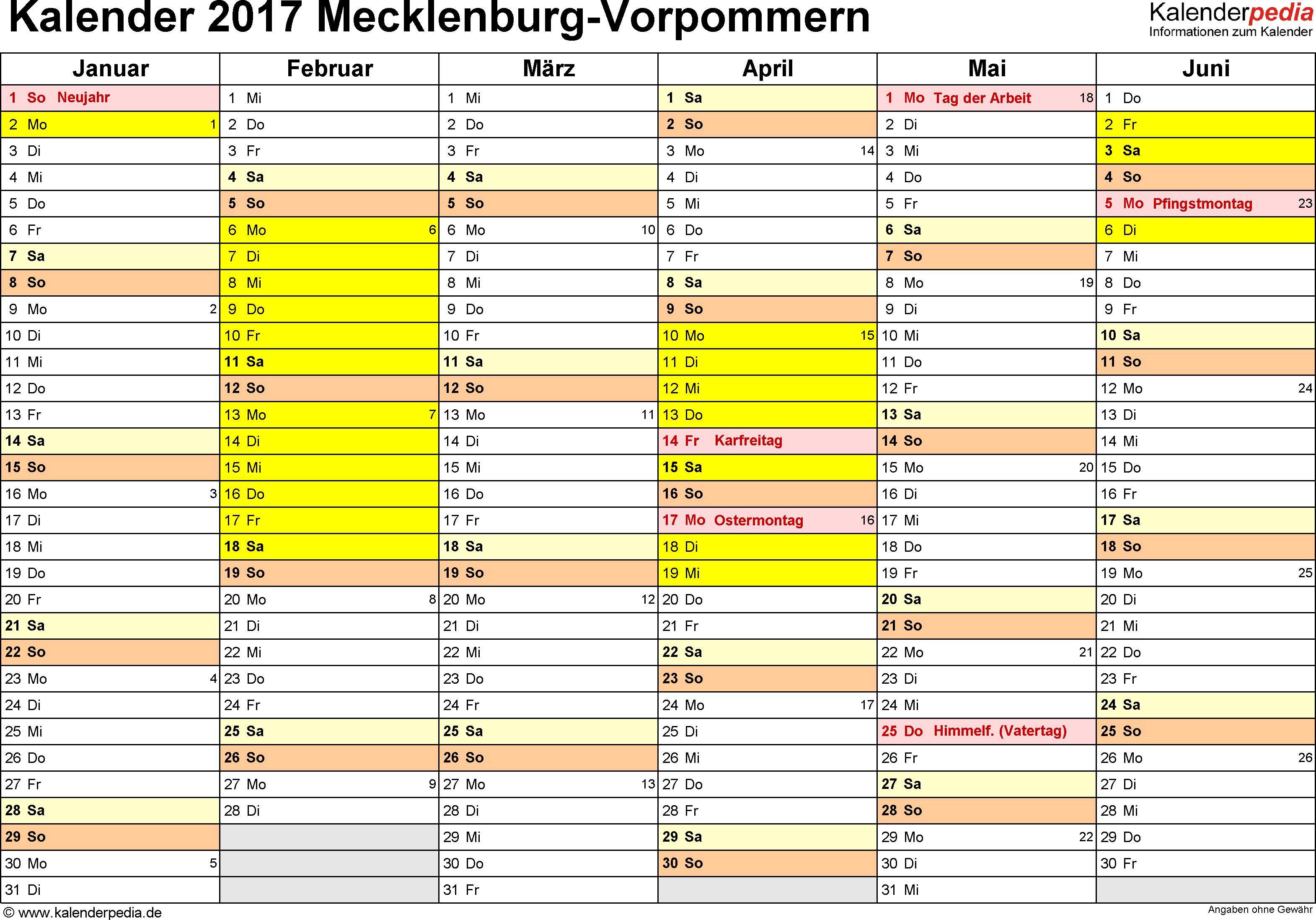 Vorlage 2: Kalender 2017 für Mecklenburg-Vorpommern als Word-Vorlage (Querformat, 2 Seiten)