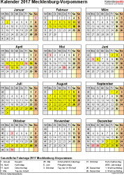 Vorlage 4: Kalender Mecklenburg-Vorpommern 2017 als Excel-Vorlage (Hochformat)