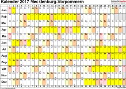 Vorlage 2: Kalender Mecklenburg-Vorpommern 2017 im Querformat, Tage nebeneinander