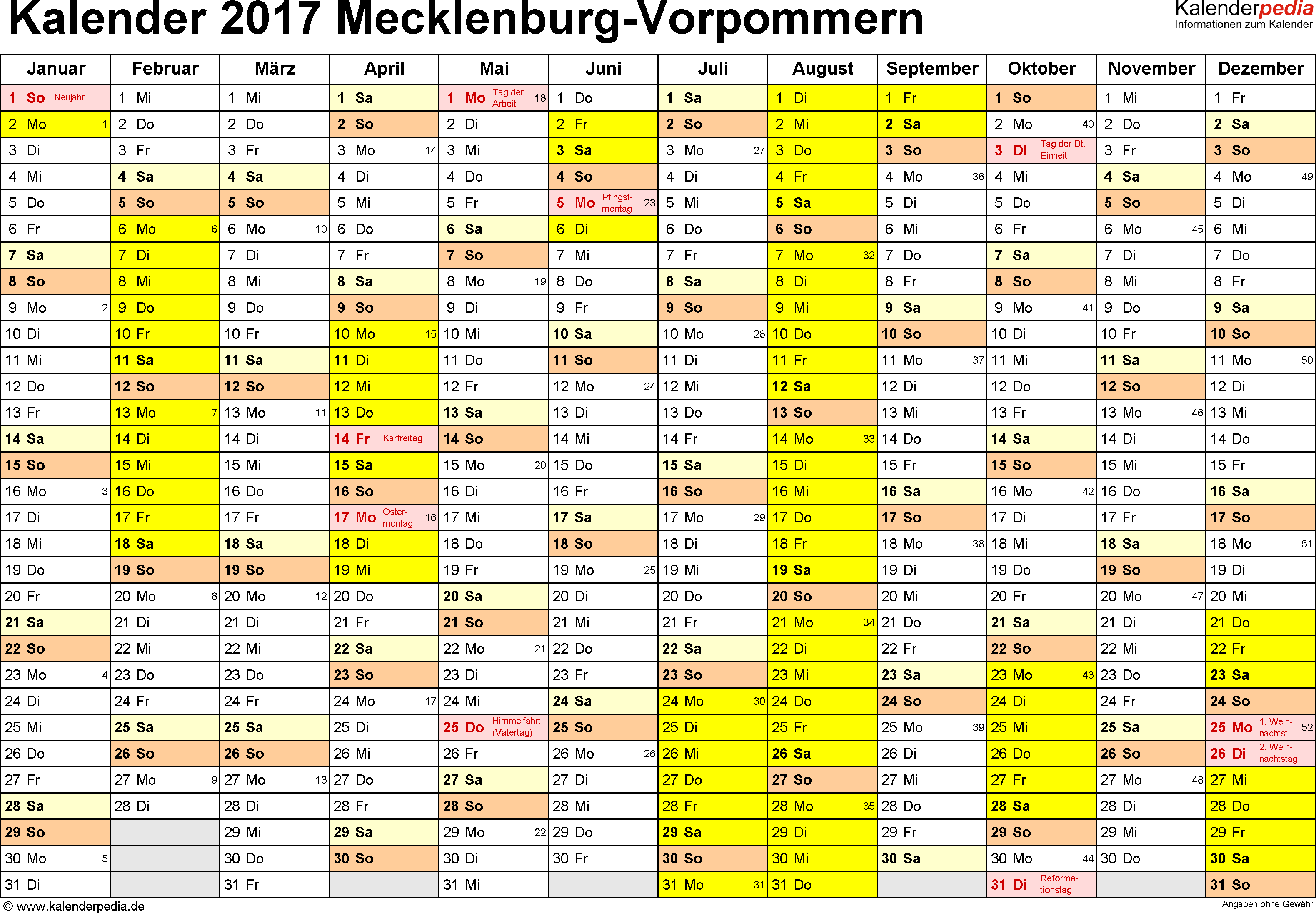 Vorlage 1: Kalender 2017 für Mecklenburg-Vorpommern als Excel-Vorlagen (Querformat, 1 Seite)