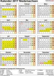 Vorlage 4: Kalender Niedersachsen 2017 als Excel-Vorlage (Hochformat)