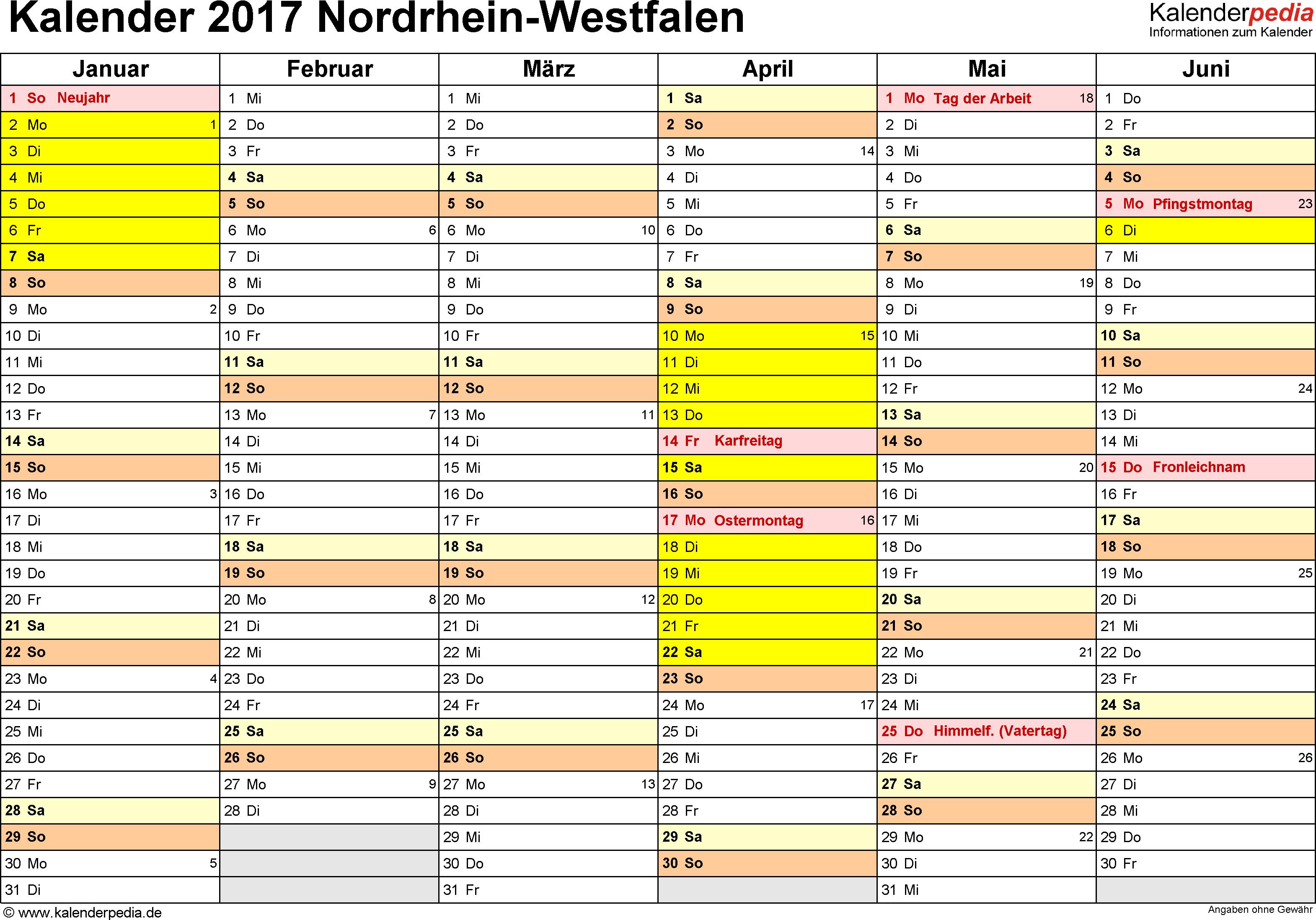 Vorlage 2: Kalender 2017 für Nordrhein-Westfalen (NRW) als Word-Vorlage (Querformat, 2 Seiten)