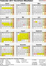 Vorlage 4: Kalender NRW 2017 als Excel-Vorlage (Hochformat)