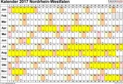Vorlage 3: Kalender Nordrhein-Westfalen (NRW) 2017 im Querformat, Tage nebeneinander