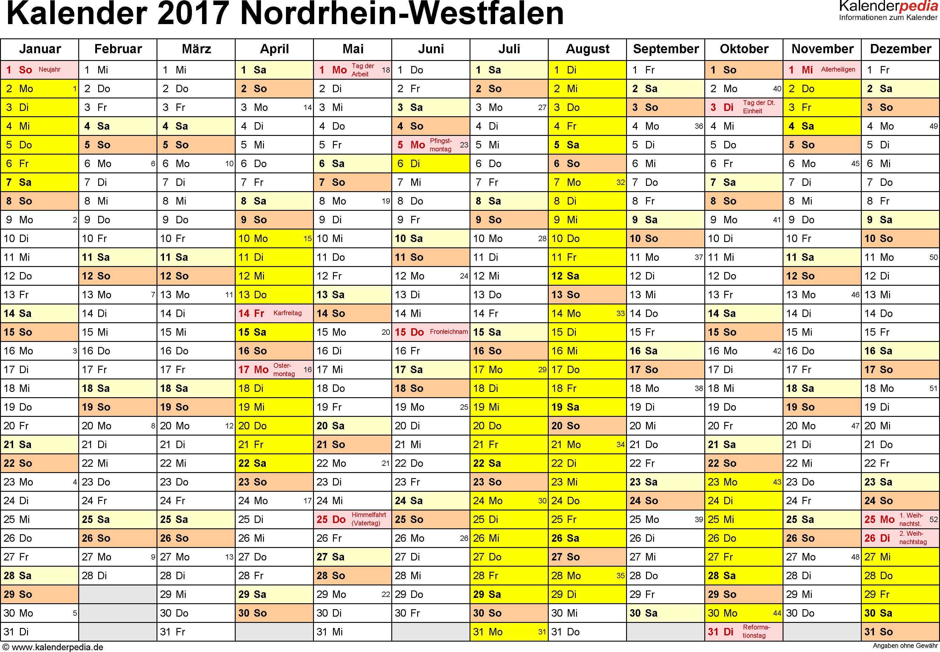 Vorlage 1: Kalender 2017 für Nordrhein-Westfalen (NRW) als Word-Vorlage (Querformat, 1 Seite)