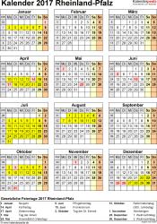 Vorlage 4: Kalender Rheinland-Pfalz 2017 als PDF-Vorlage (Hochformat)