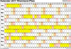 Vorlage 2: Kalender Rheinland-Pfalz 2017 im Querformat, Tage nebeneinander