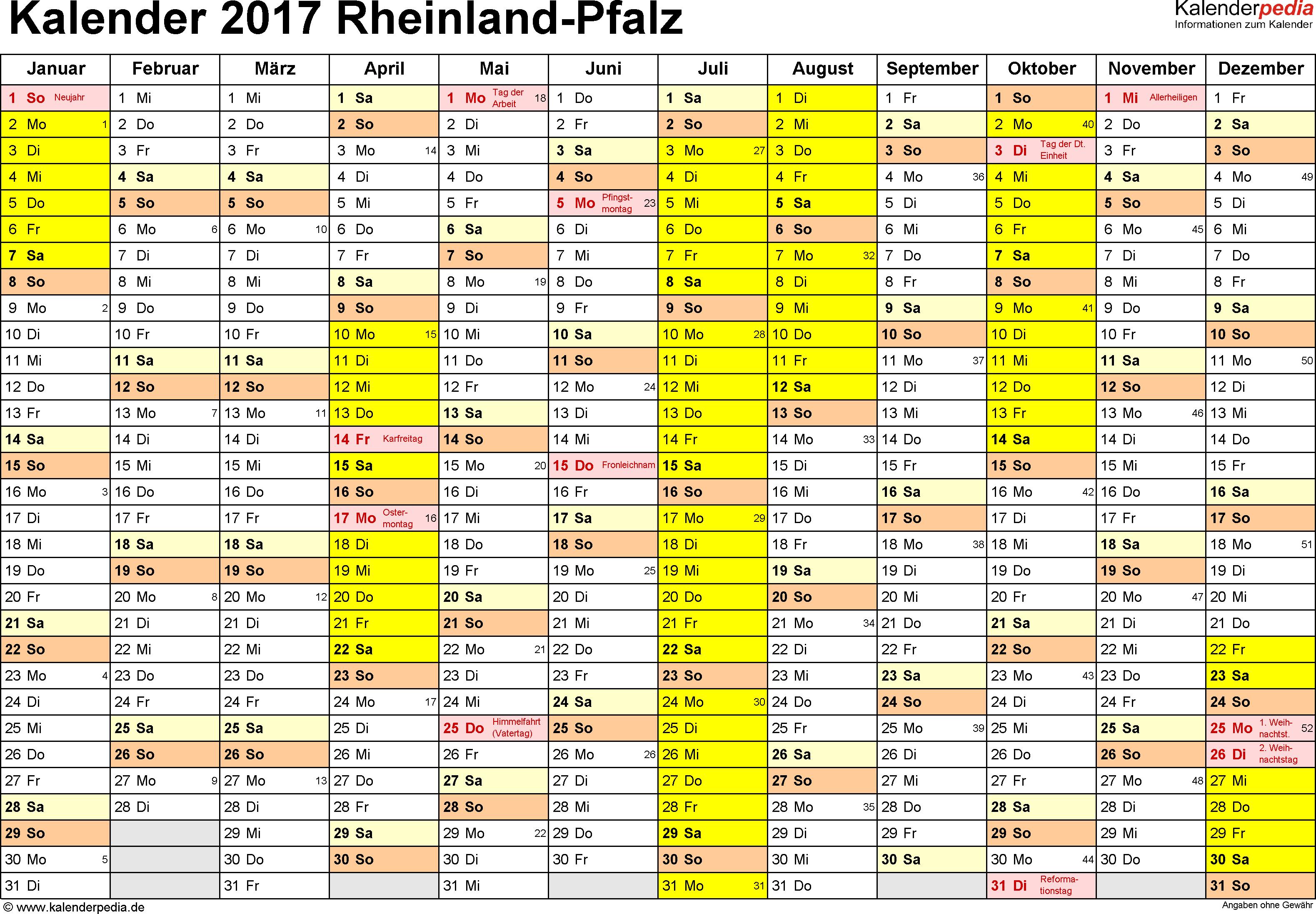 Vorlage 1: Kalender 2017 für Rheinland-Pfalz als PDF-Vorlage (Querformat, 1 Seite)