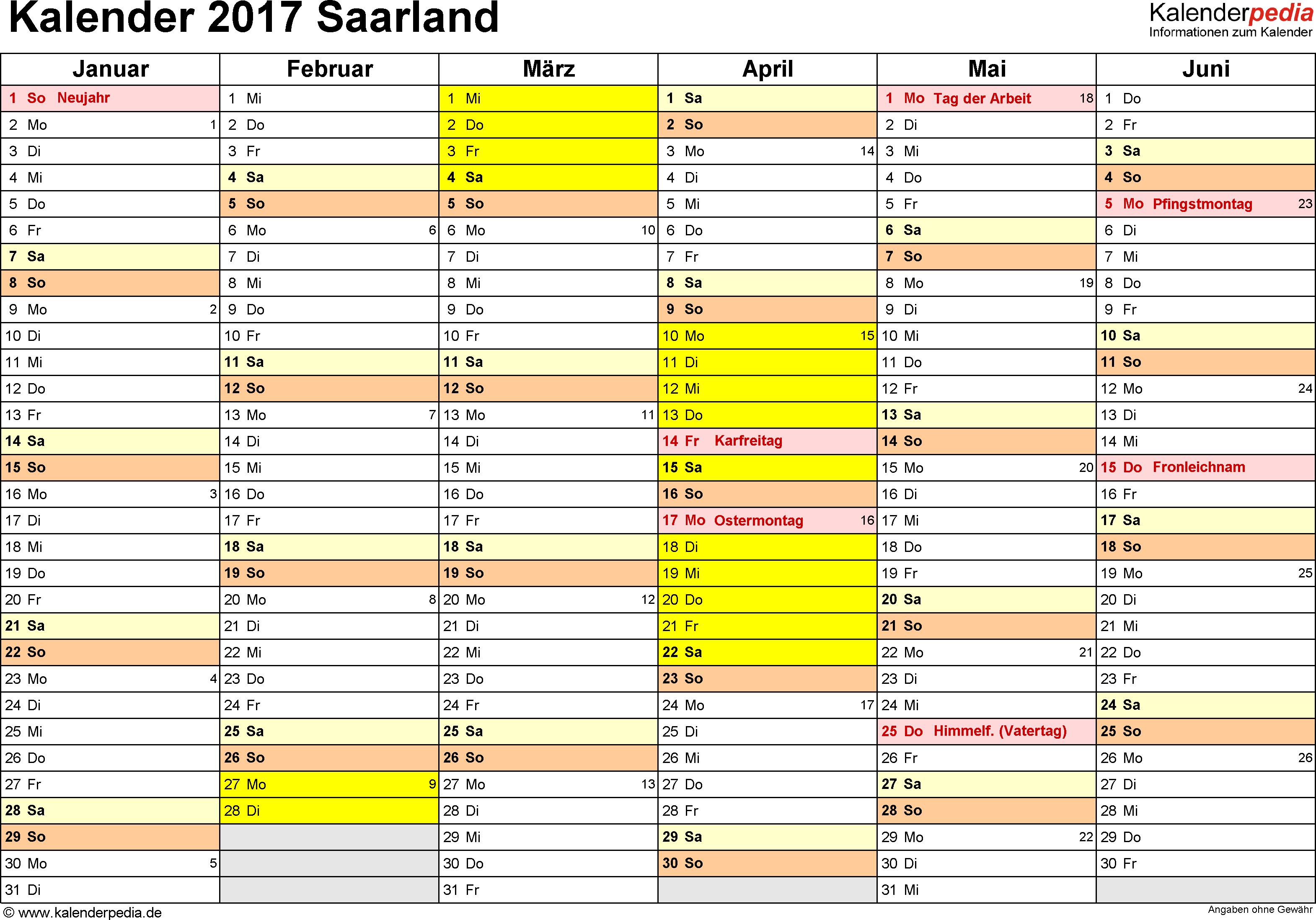 Vorlage 2: Kalender 2017 für Saarland als Excel-Vorlage (Querformat, 2 Seiten)