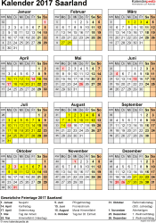 Vorlage 4: Kalender Saarland 2017 als Excel-Vorlage (Hochformat)