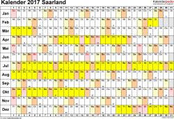 Vorlage 3: Kalender Saarland 2017 im Querformat, Tage nebeneinander