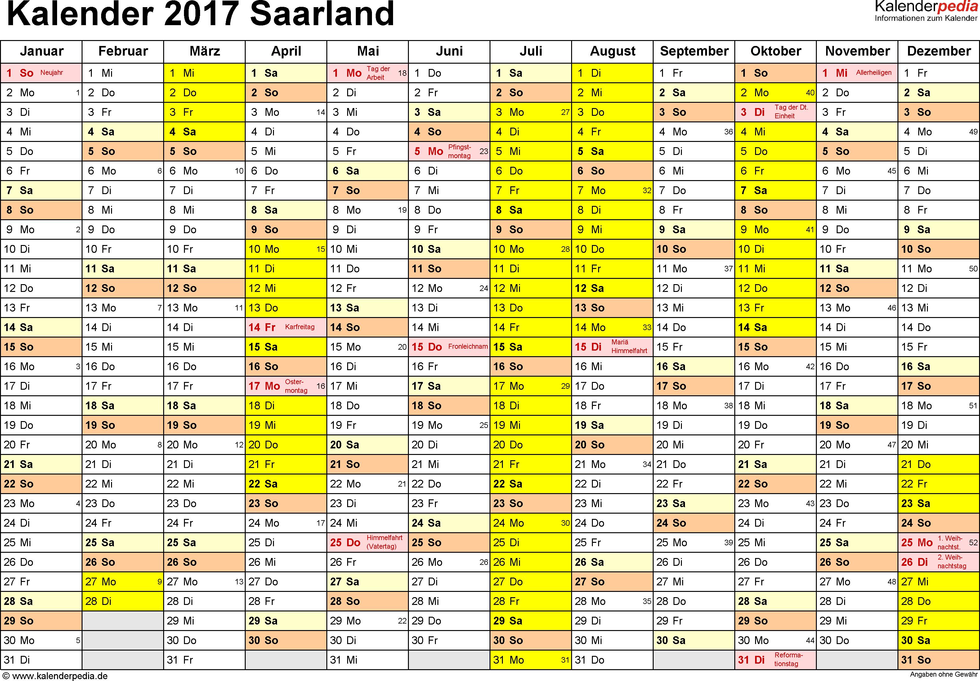 Vorlage 1: Kalender 2017 für Saarland als Excel-Vorlage (Querformat, 1 Seite)
