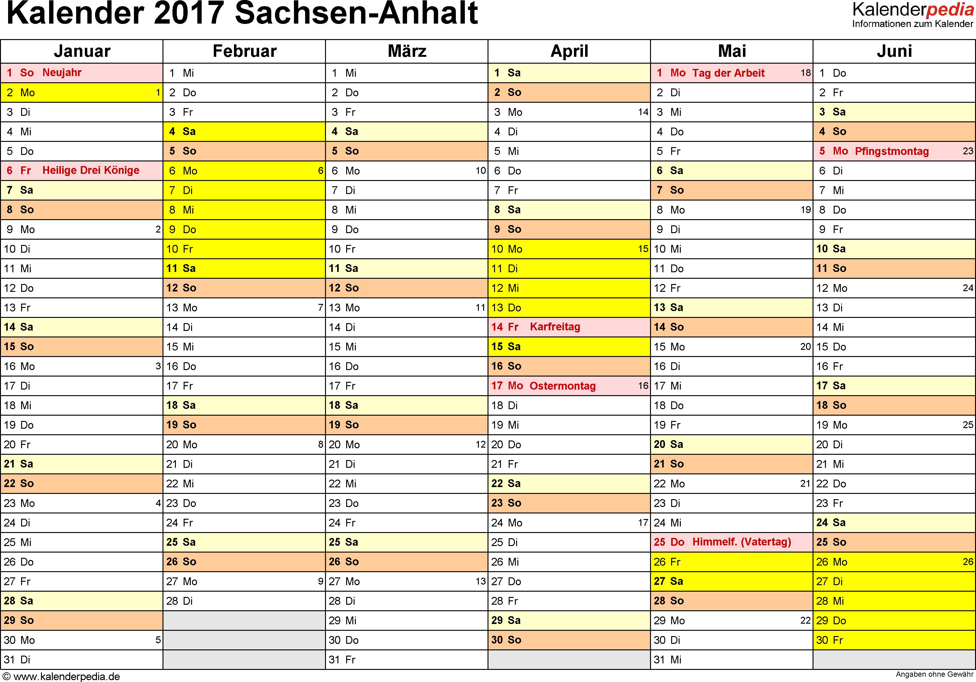 Vorlage 2: Kalender 2017 für Sachsen-Anhalt als Excel-Vorlage (Querformat, 2 Seiten)