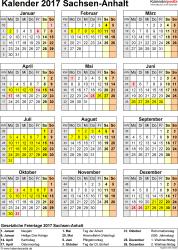 Vorlage 4: Kalender Sachsen-Anhalt 2017 als Excel-Vorlage (Hochformat)