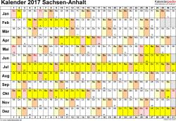 Vorlage 2: Kalender Sachsen-Anhalt 2017 im Querformat, Tage nebeneinander