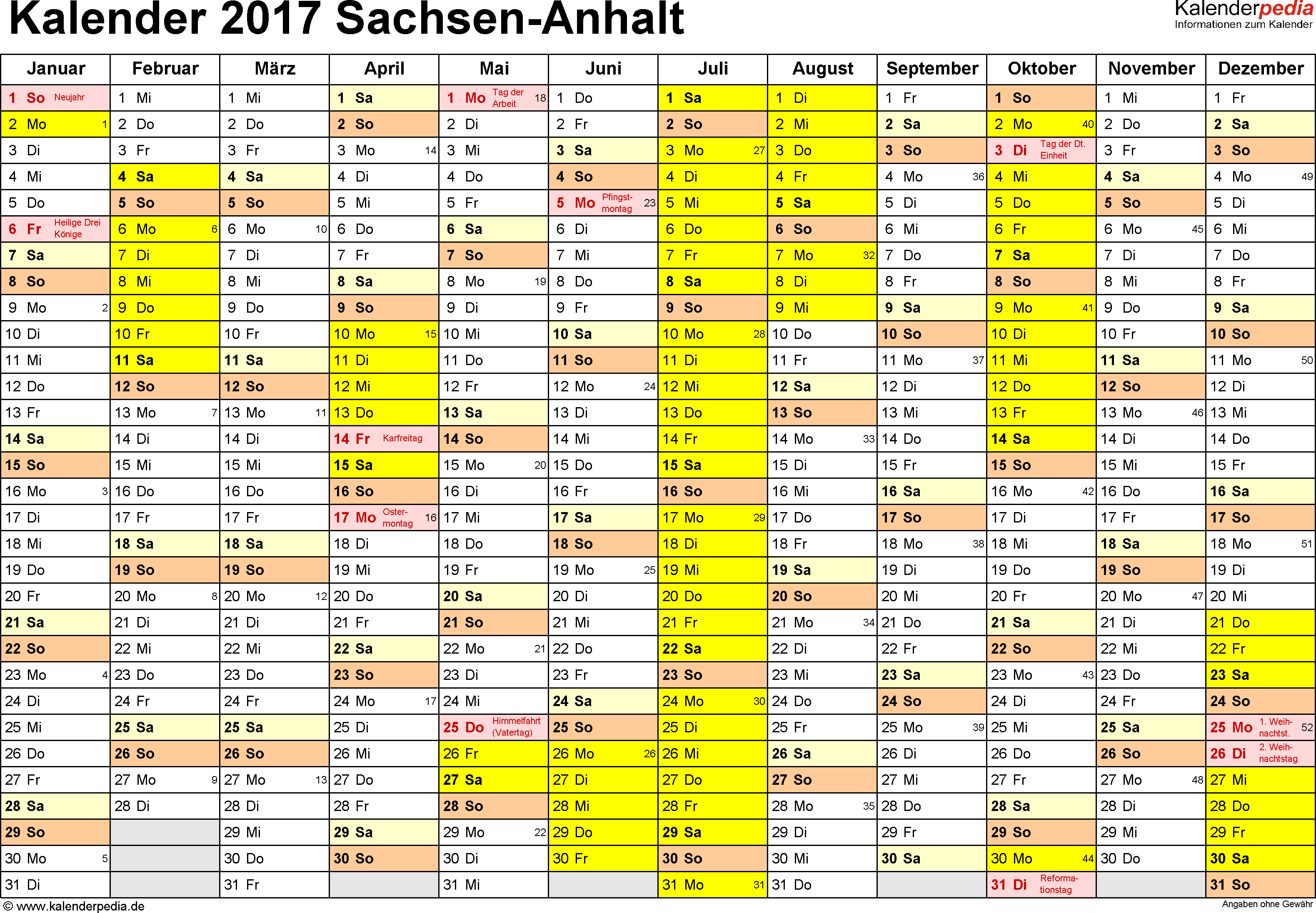 Vorlage 1: Kalender 2017 für Sachsen-Anhalt als Excel-Vorlage (Querformat, 1 Seite)